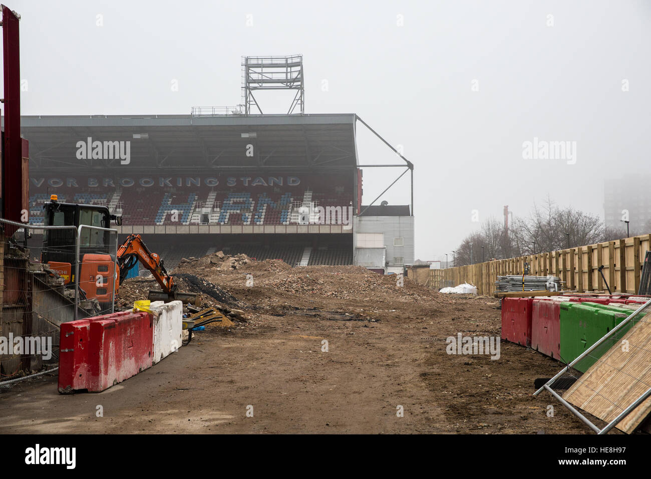 London, UK. 17th December, 2016. The East Stand at West Ham United's former Boleyn Ground in Upton Park has - Stock Image