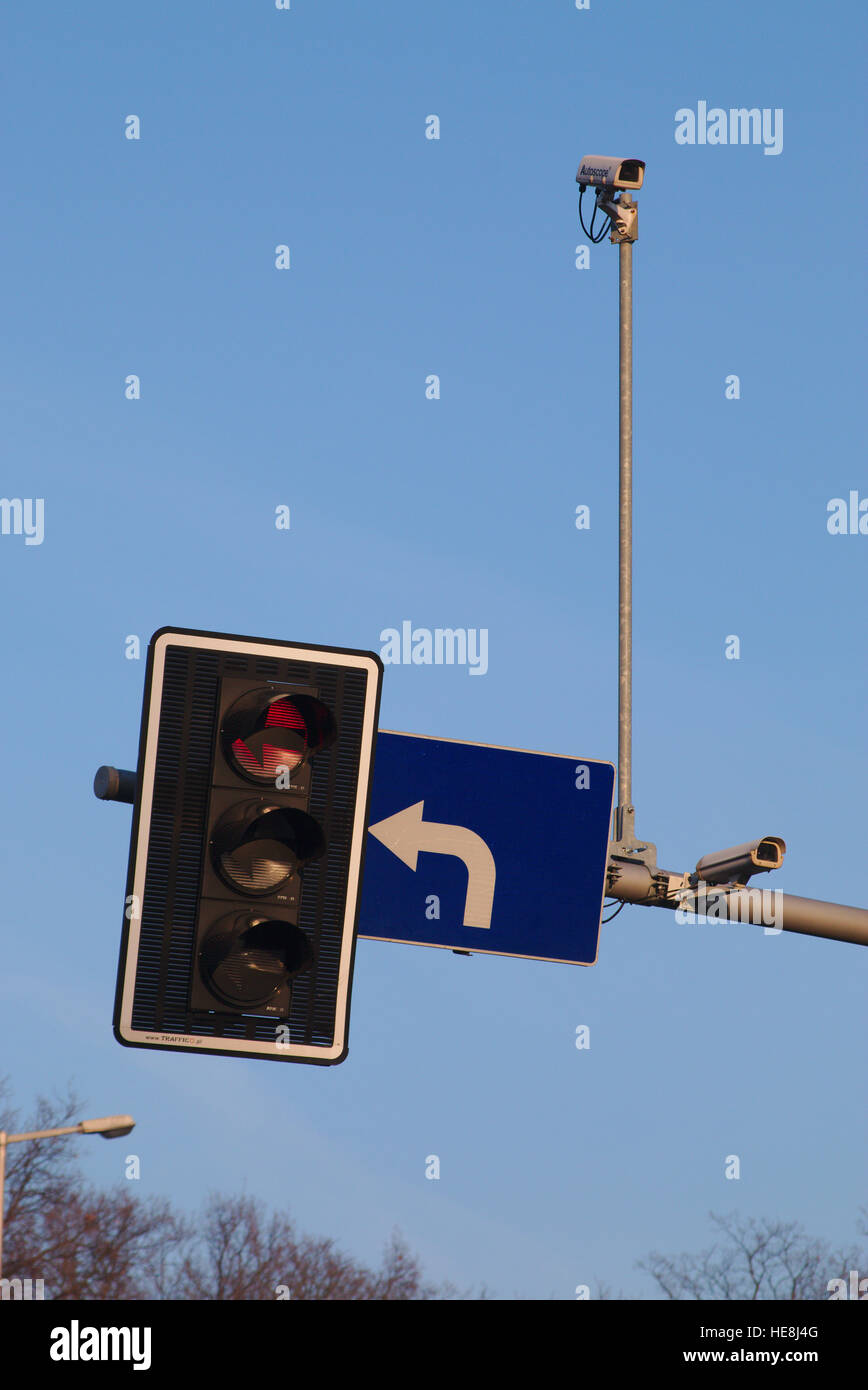 Surveillance cameras installed on traffic lights in Wroclaw, Poland - Stock Image