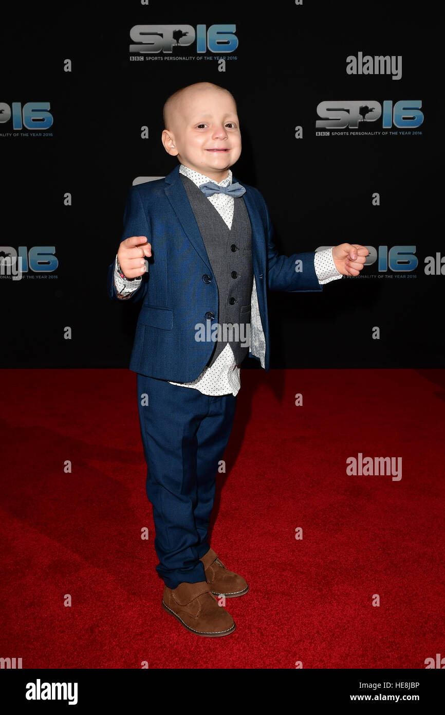 Star Guest Bradley Lowery during the red carpet arrivals for BBC Sports Personality of the Year 2016 at The Vox Stock Photo