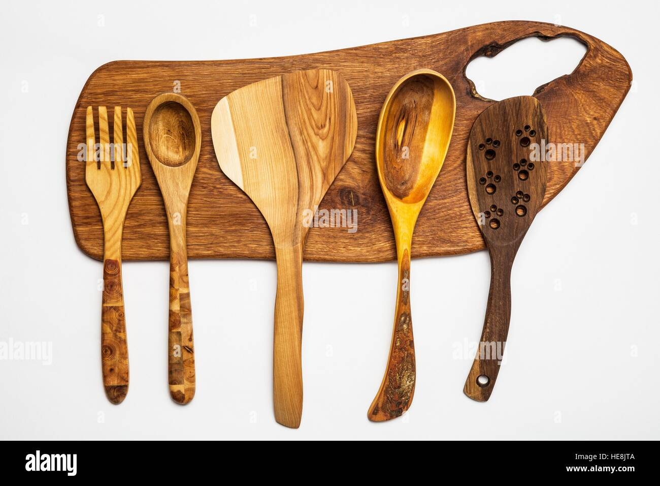 Kitchen equipment - wooden tools,cutting table isolated on white. - Stock Image