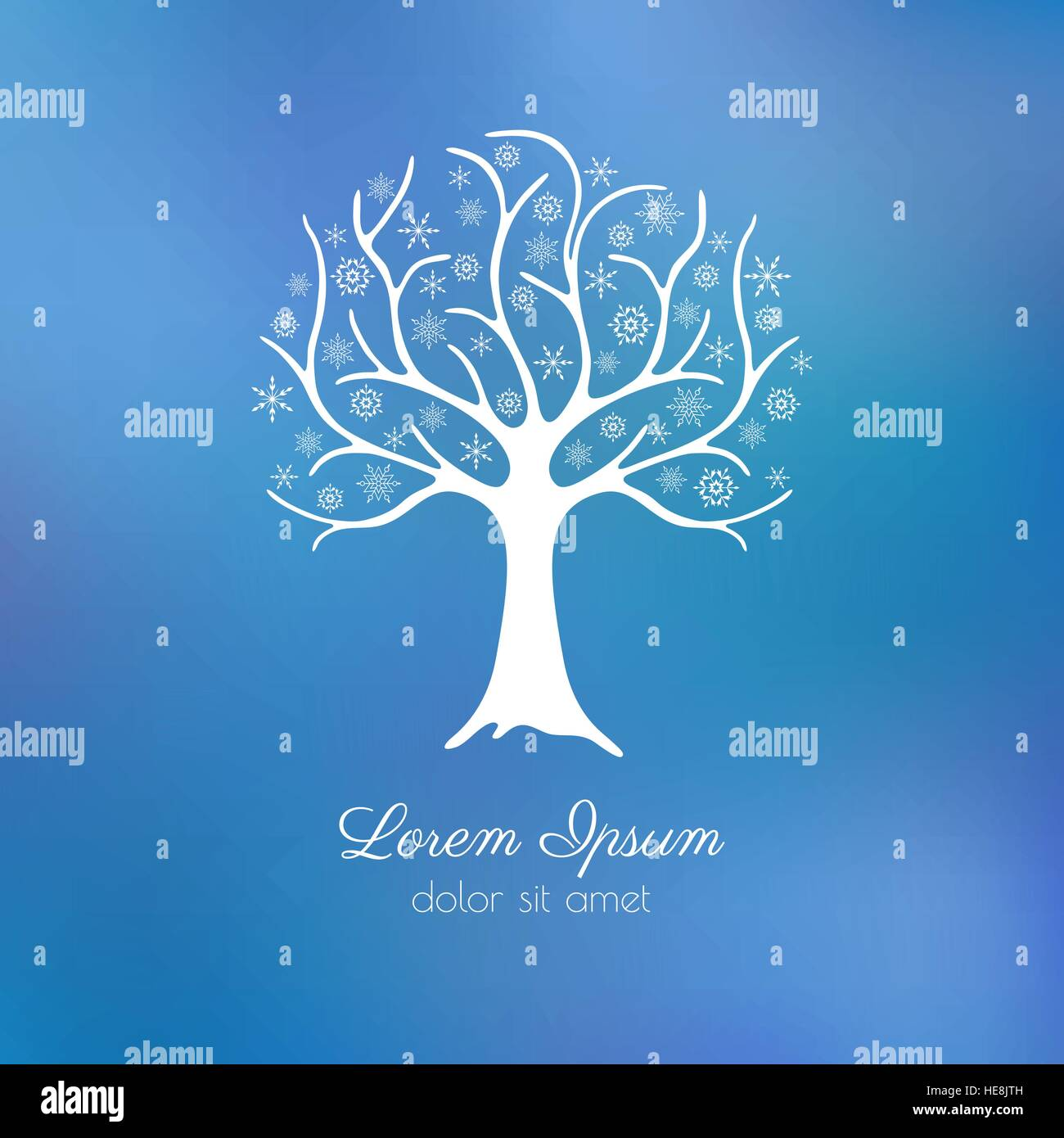 Elegant winter tree with snowflakes instead of leaves. Seasonal design template over a blurred background, eps10. - Stock Vector
