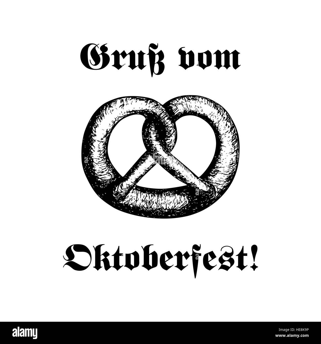 German pretzel black and white stock photos images alamy hand drawn vector illustration of a pretzel oktoberfest celebration design text in german m4hsunfo