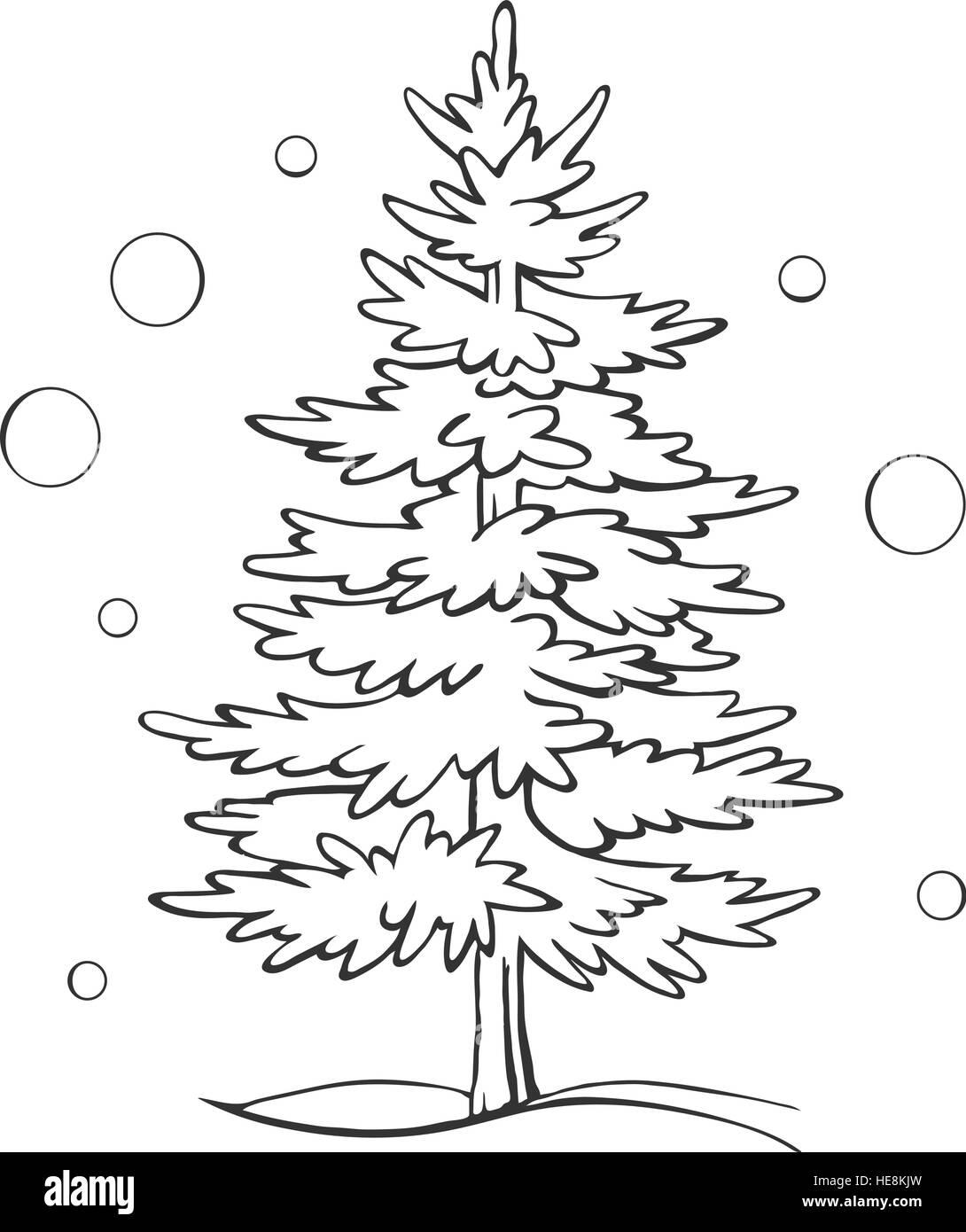 Christmas tree sketch symbol vector xmas winter