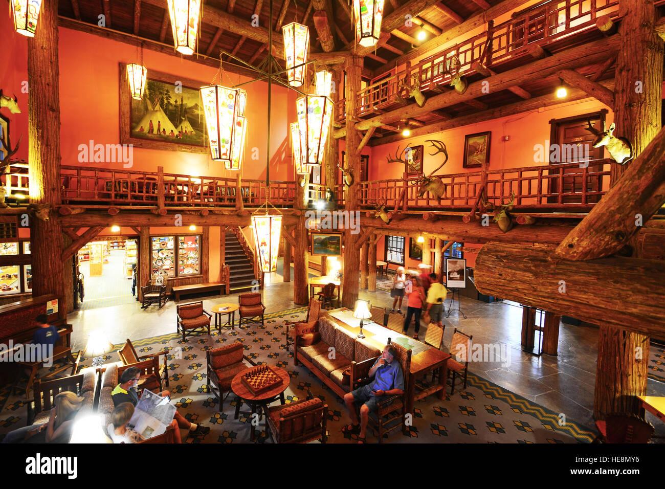 Lake McDonald Lodge- indoors, Montana, USA - Stock Image