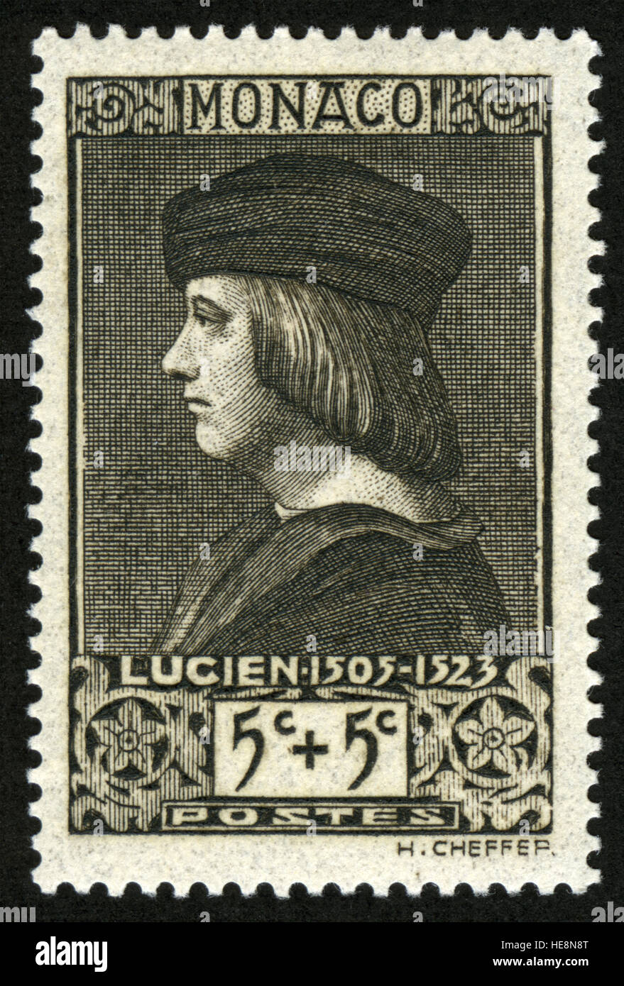 MONACO - CIRCA 1939-06-26: A stamp printed in Monaco shows Lucien, Lord of Monaco by Ambrogio de Predis, circa 1939 - Stock Image
