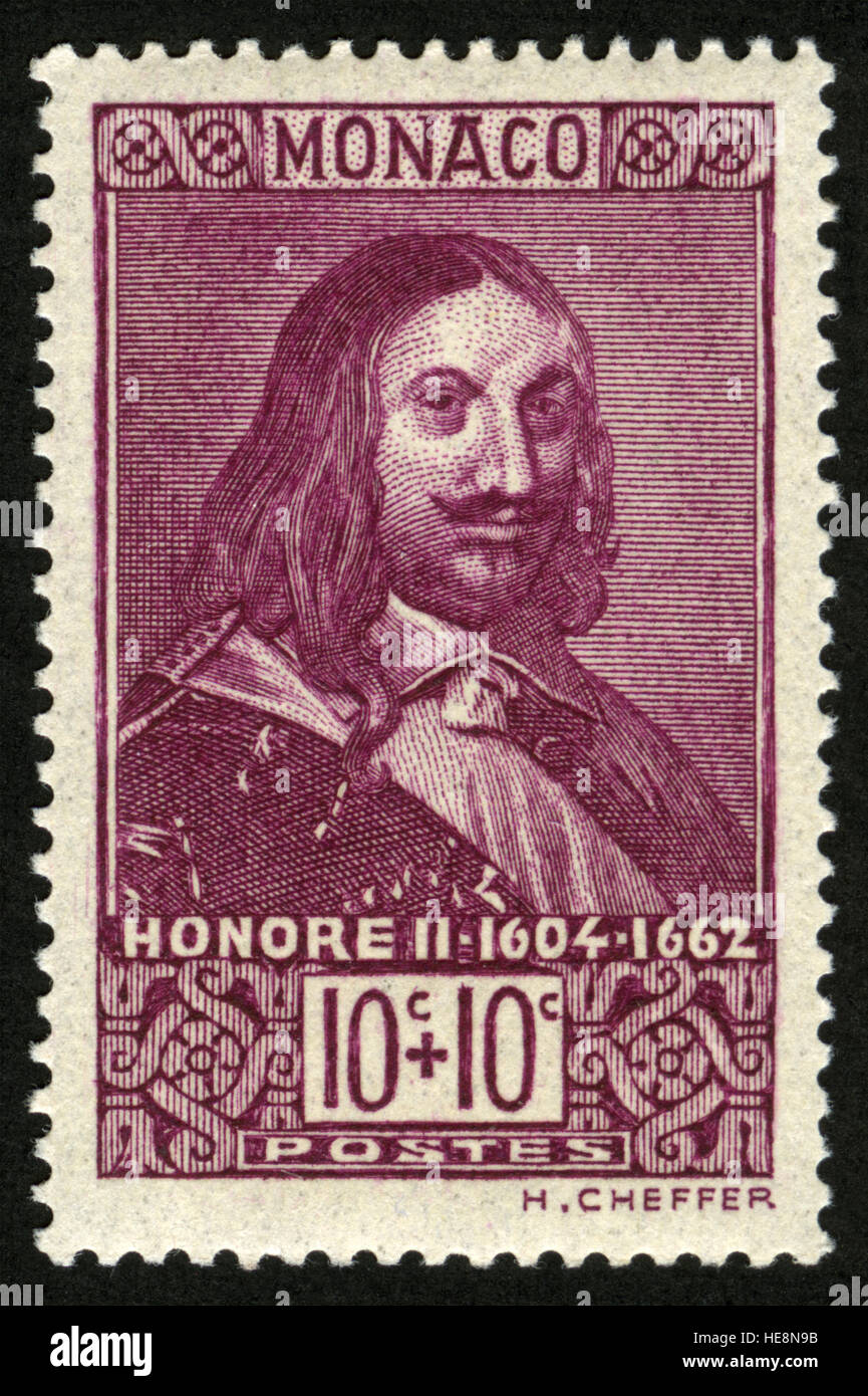 MONACO - CIRCA 1939-06-26, Honoré II (1597-1662), Portraits of previous rulers, Rock of Monaco - Stock Image