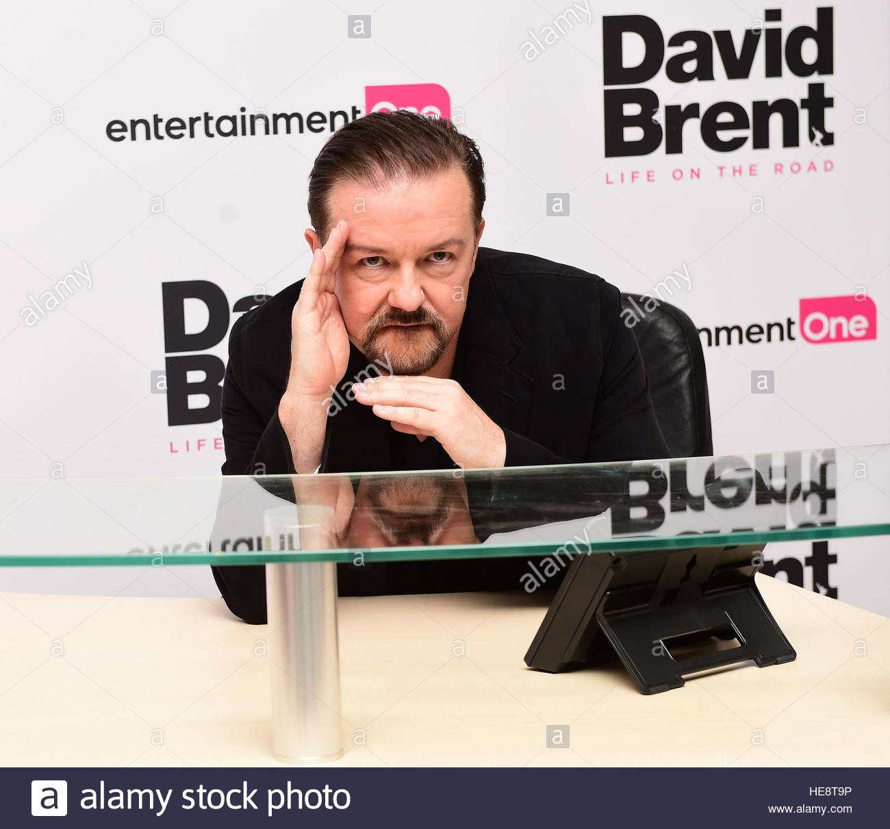 File photo dated 10/08/16 of Ricky Gervais attending the world premiere of David Brent: Life On The Road. Bad bosses - Stock Image