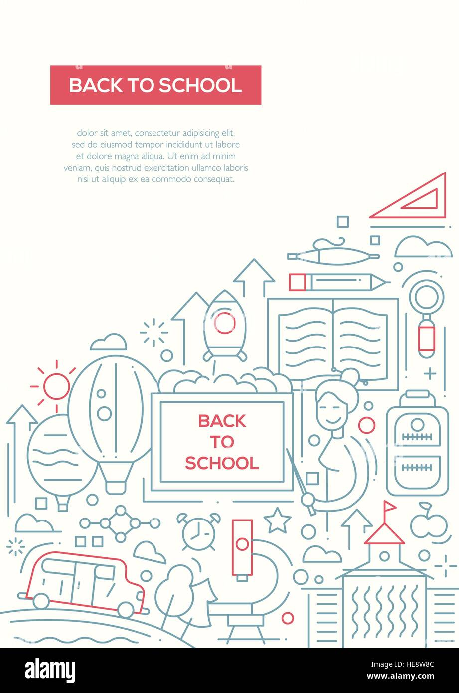 Back To School Line Design Brochure Poster Template A4 Stock