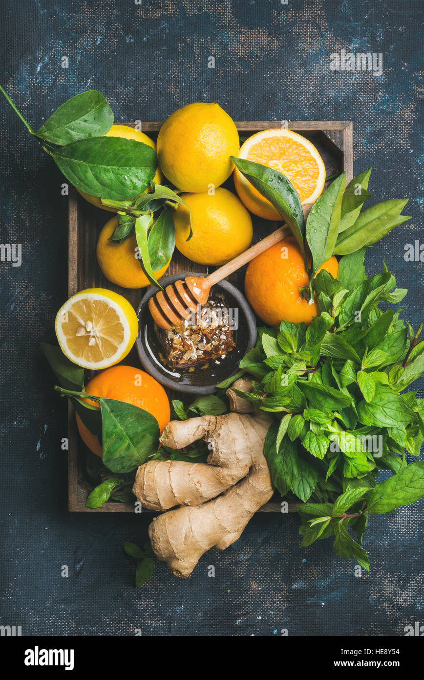 Ingredients for making warming immunity boosting natural hot drink - Stock Image