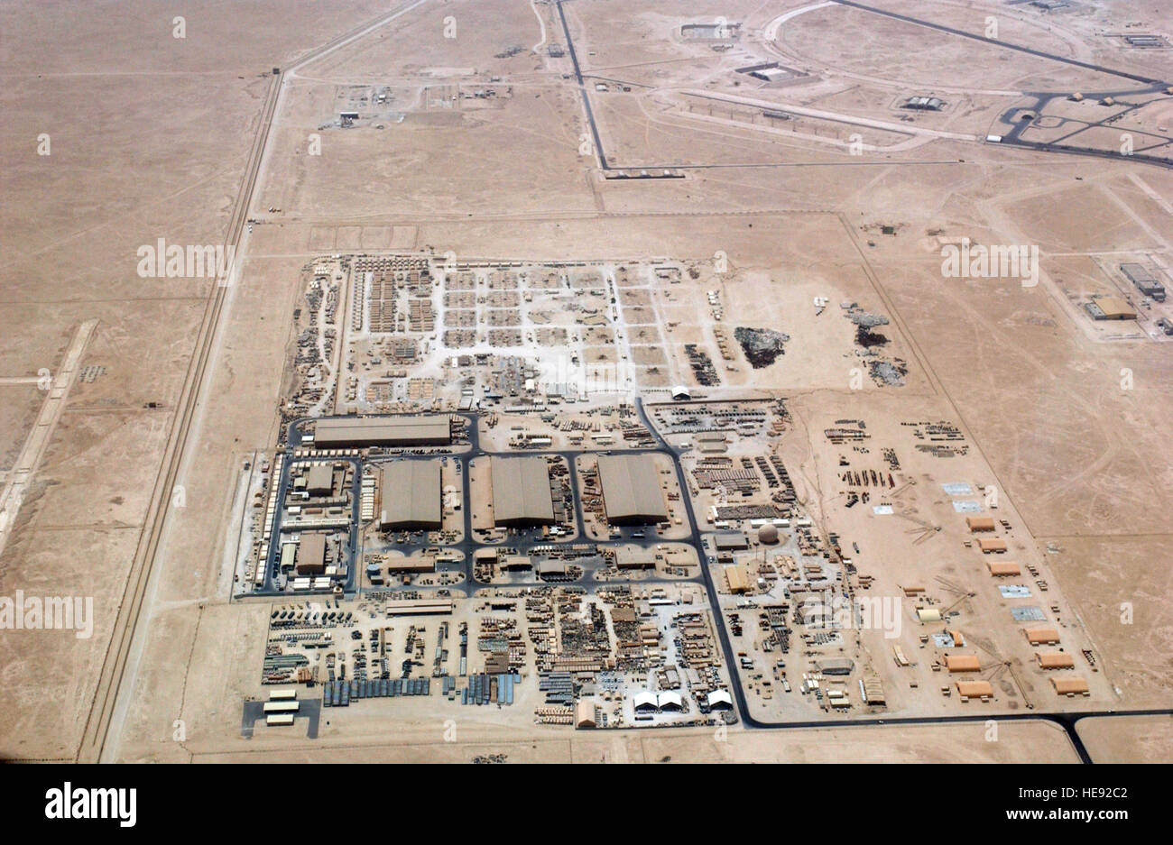 "An aerial overhead view of ""Ops Town"" at at Al Udeid Air Base (AB), Al Rayyan Province, Qatar (QAT), taken from Stock Photo"