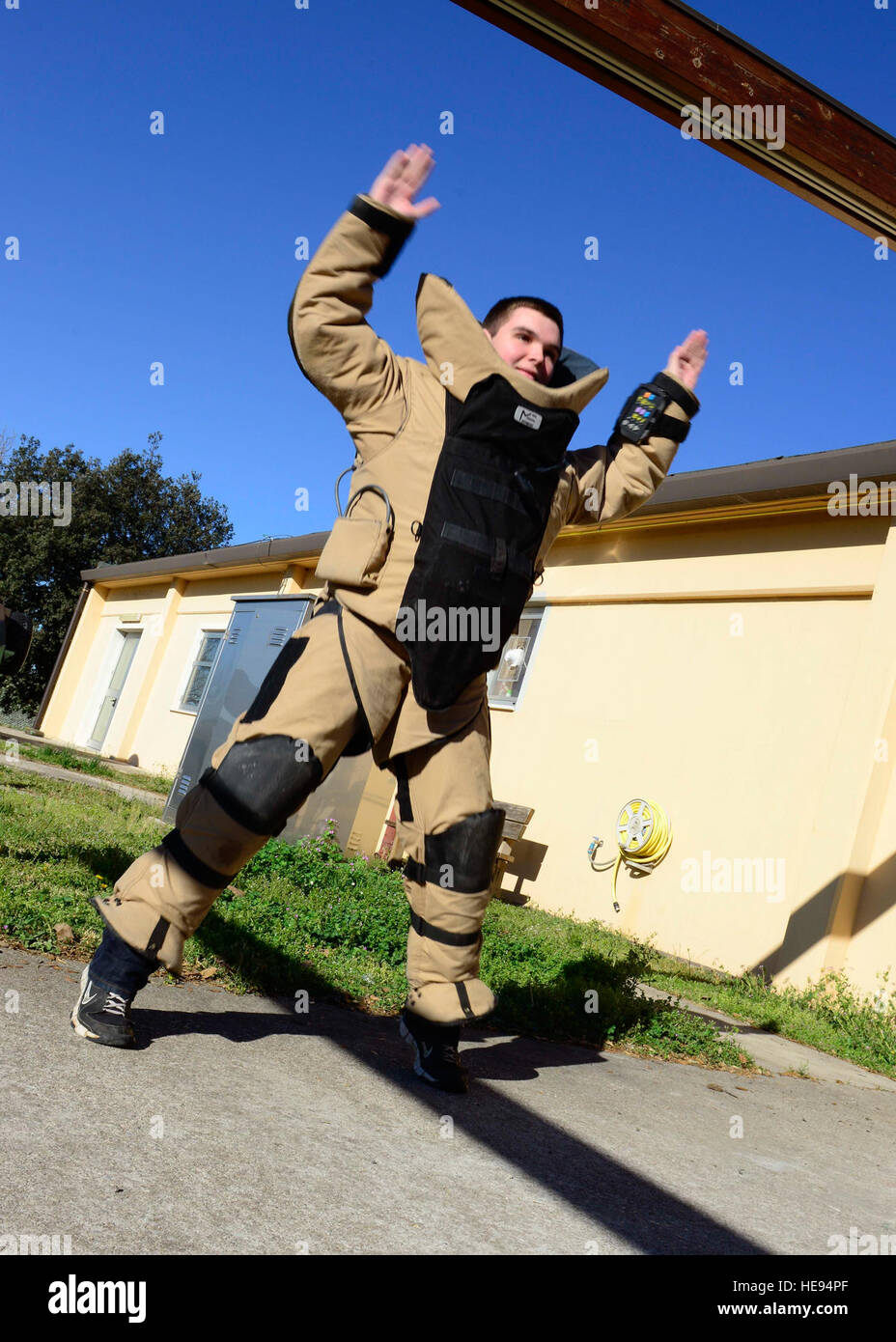 Jason Frost, Aviano student, executes an exercise while wearing a bomb suit, April 2, 2015, at Aviano Air Base, - Stock Image