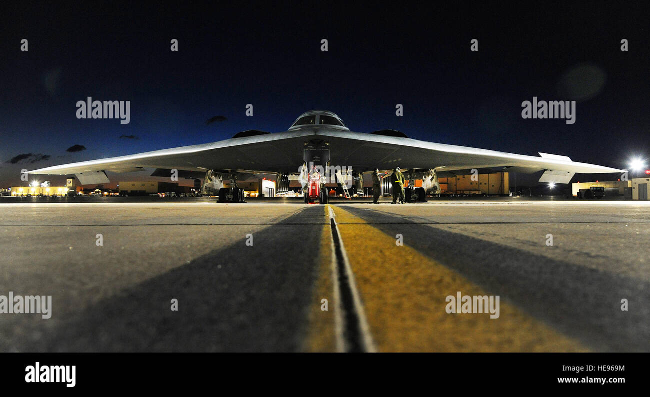 A B-2 Spirit bomber sits on the flightline prior to takeoff at Whiteman Air Force Base, Mo., for Red Flag 16-1 Feb. - Stock Image