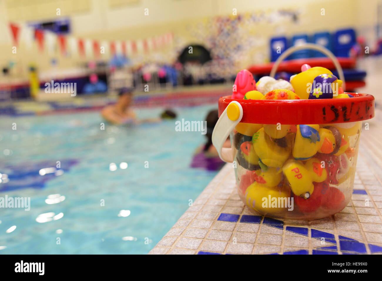The Buckner Physical Fitness Center on Joint Base Elmendorf-Richardson offers basic 'Learn to Swim' lessons - Stock Image