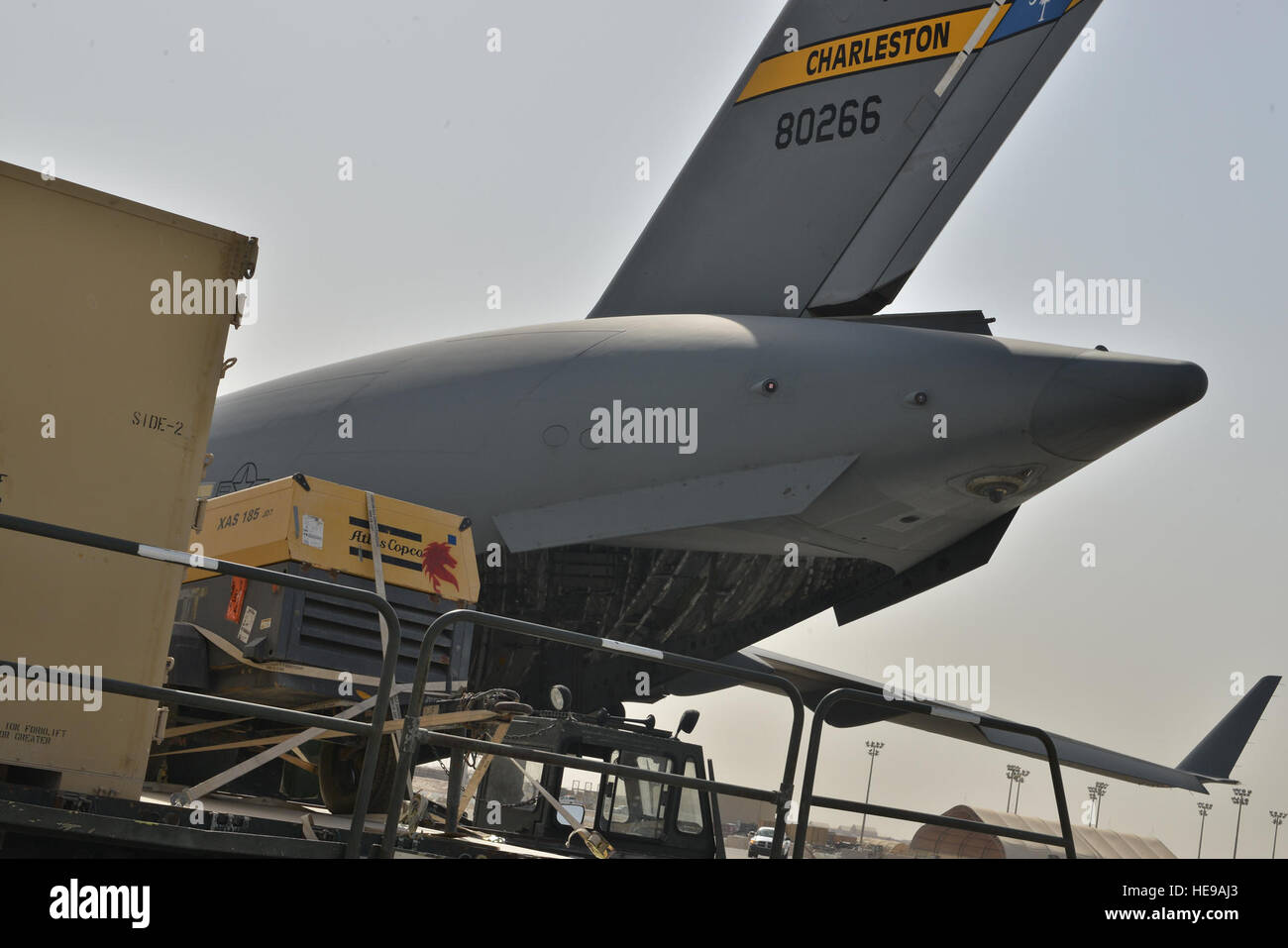 A C-17 Globemaster aircraft assigned to the 437th Air Lift Wing, Joint Base Charleston, S.C., is prepared to be - Stock Image