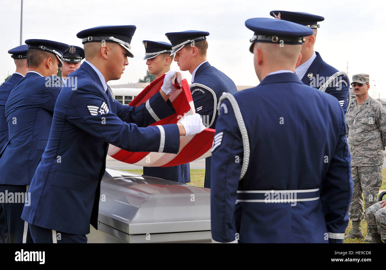 A Robins Air Force Base Honor Guard detail rehearses an active duty funeral honors ceremony. The ceremony was observed Stock Photo