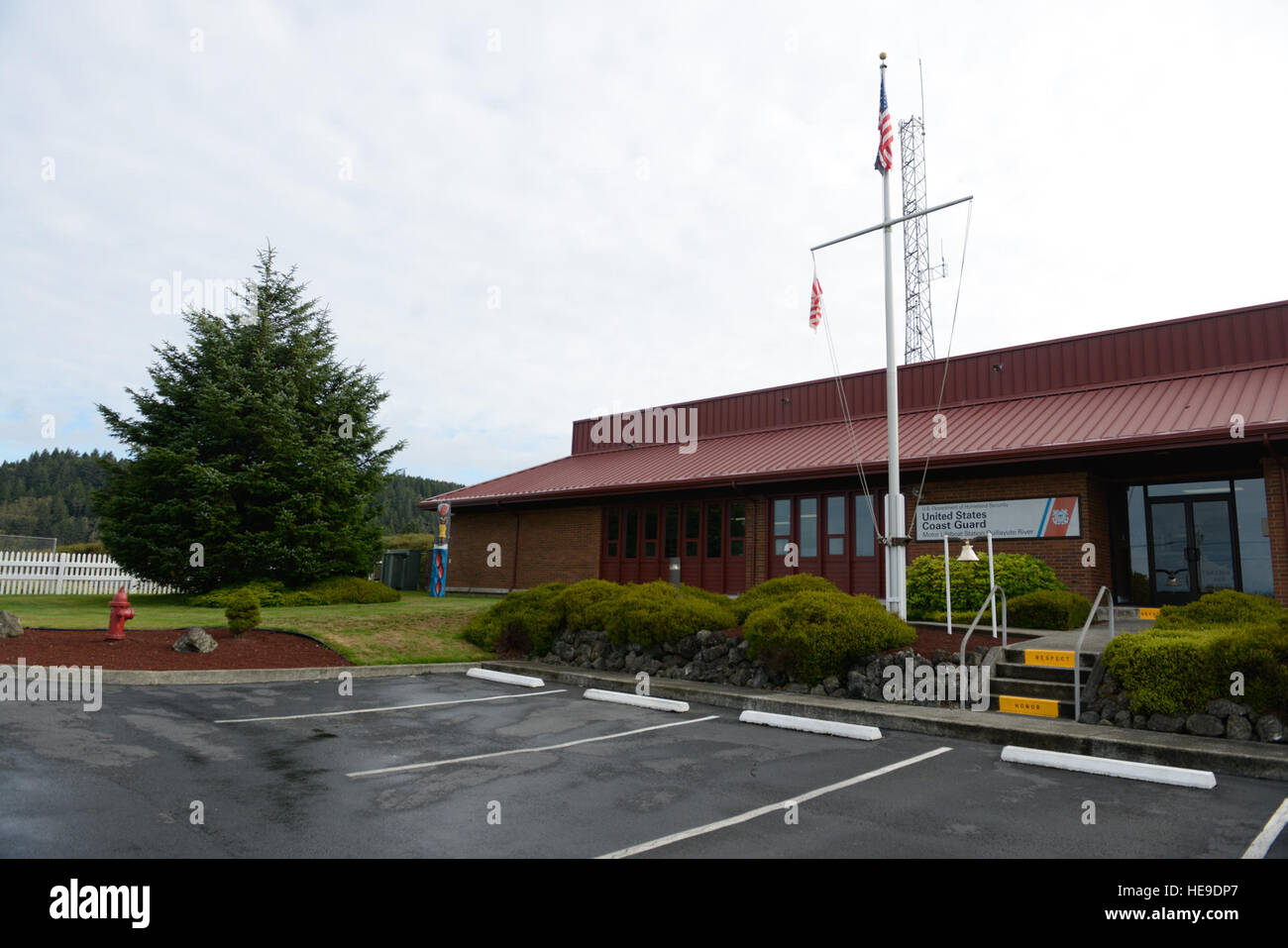 The front of Coast Guard Station Quillayute River in La Push, Wash., is pictured, Sept. 15, 2015. Located on the - Stock Image