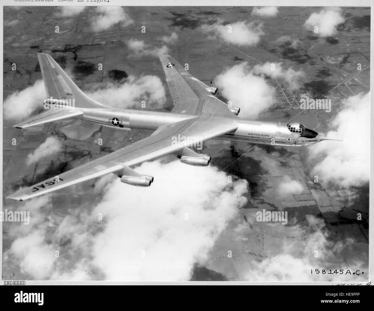 Consolidated YB-60 in flight,1952. Convair YB-60 sweptwing, eight-jet bomber is shown here in the first flight view - Stock Image