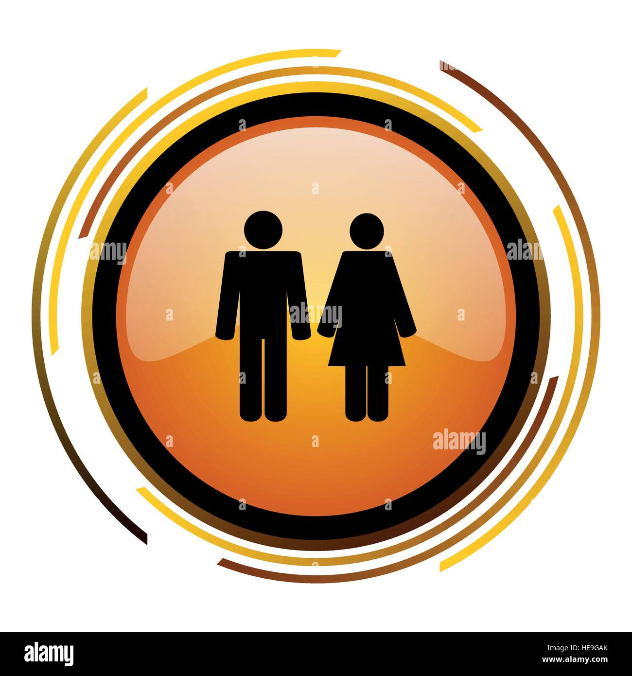 Heterosexual pair vector icon. Modern design round orange button isolated on white background for web and applications - Stock Image