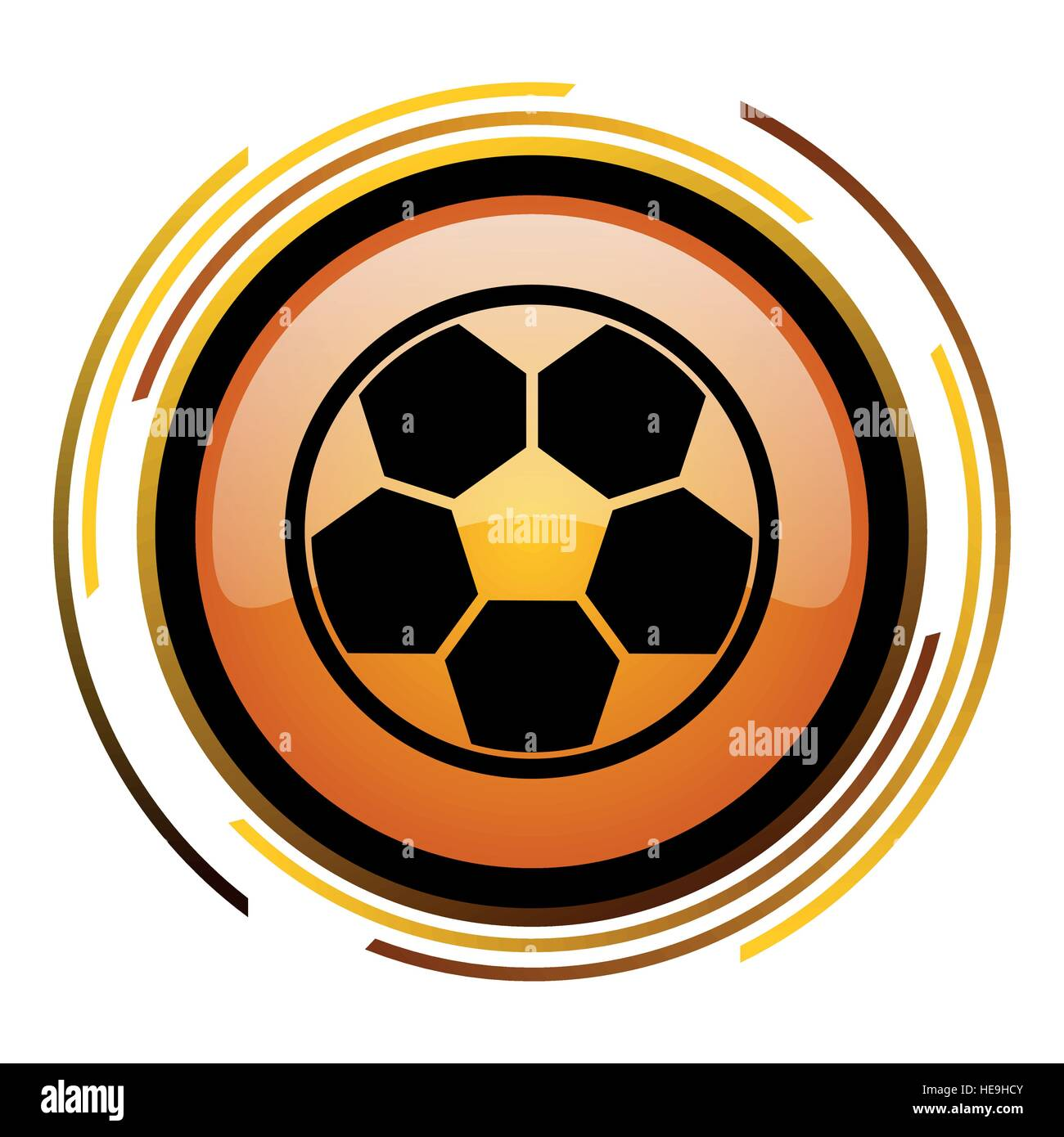 Football  vector icon. Modern design round orange button isolated on white background for web and applications in - Stock Vector