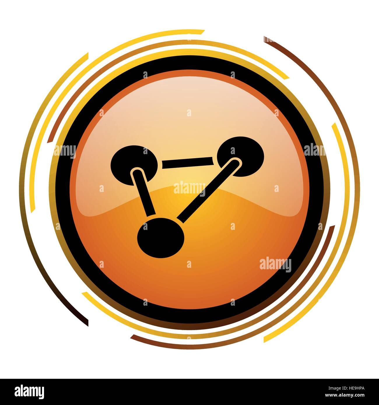 Science vector icon. Modern design round orange button isolated on white background for web and applications in - Stock Vector