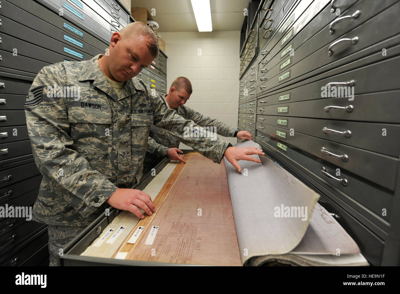 Tech. Sgt. Jason Dawson 5th Civil Engineering Squadron, non-commissioned officer in charge of drafting reviews historical - Stock Image