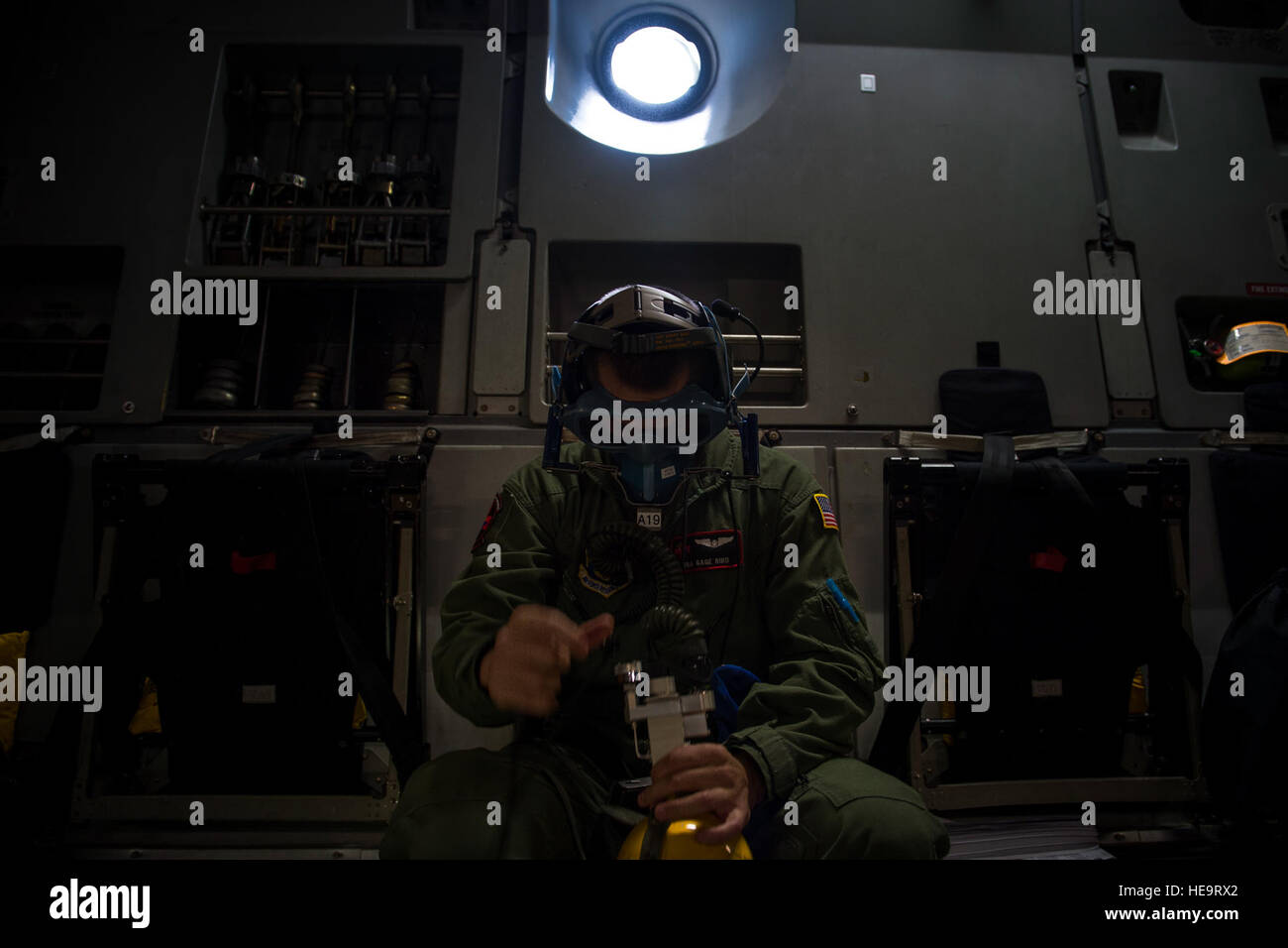 U.S. Air Force Reserve Senior Airman Gage Bird, a medical evacuation technician with the 914th Aeromedical Evacuation Stock Photo
