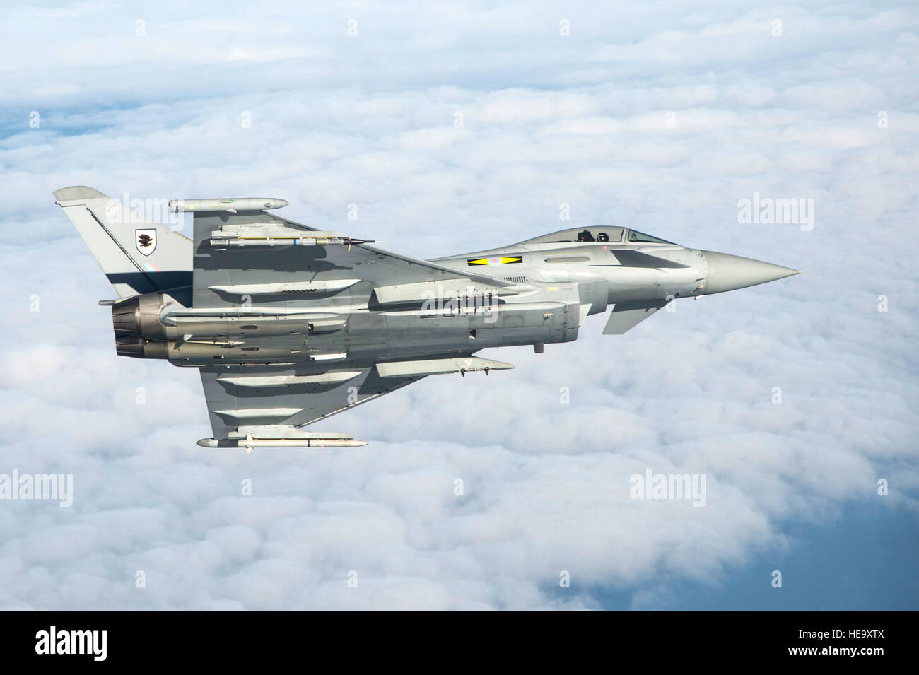 A British Royal Air Force Typhoon flies as part of the inaugural Trilateral Exercise held at Langley Air Force Base, - Stock Image