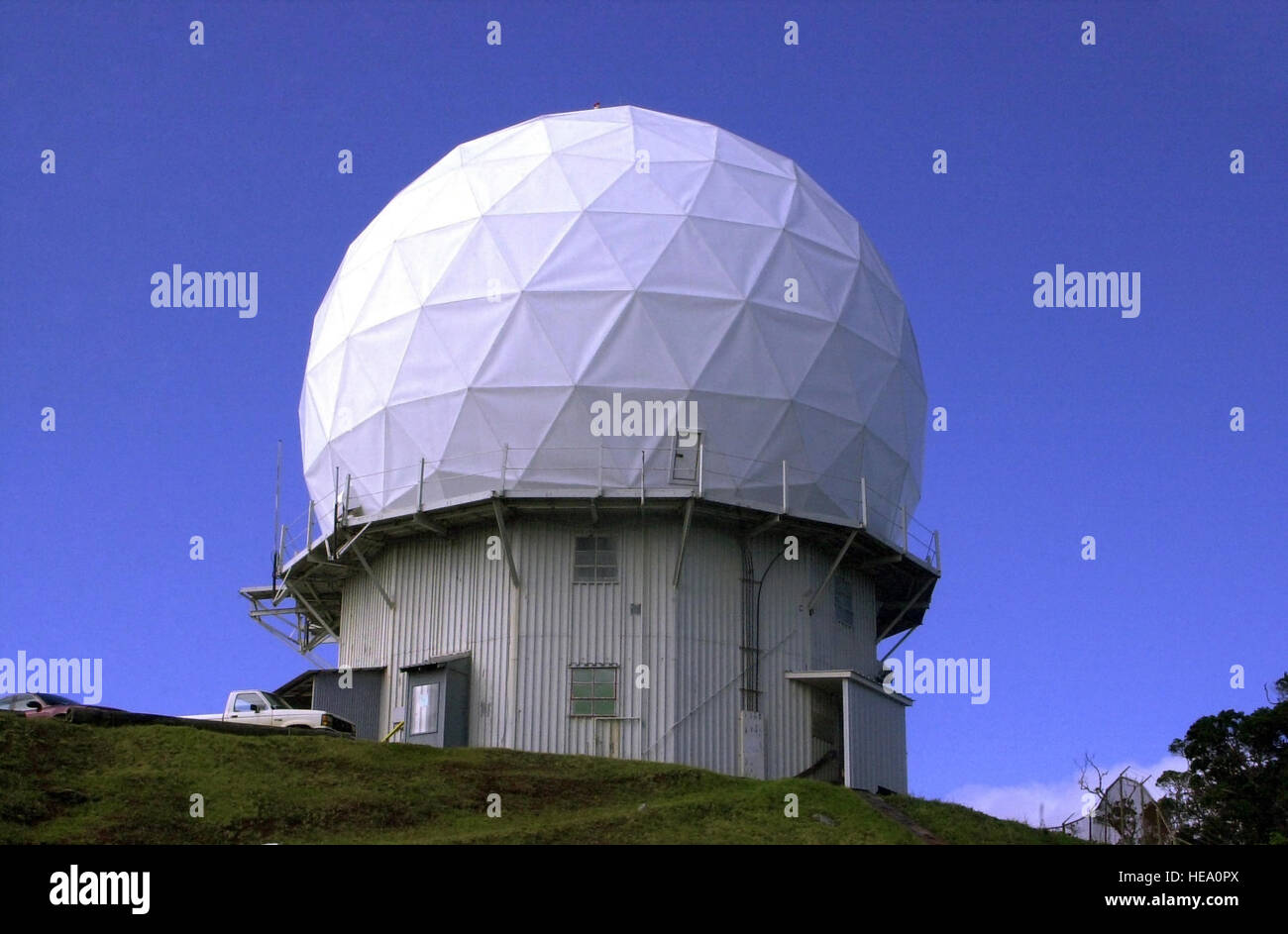 A view of the artic tower version of the AN/FPS-6 height-finding radar operated by the 150th Aircraft Control and - Stock Image