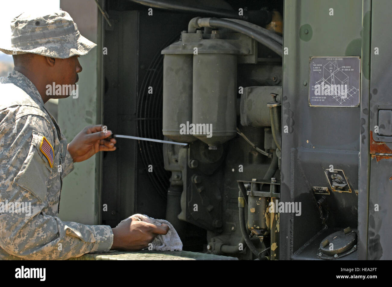 us army spc christian downs a generator mechanic 48th combat support hospital fort meade md conducts preventive maintenance checks on an electric