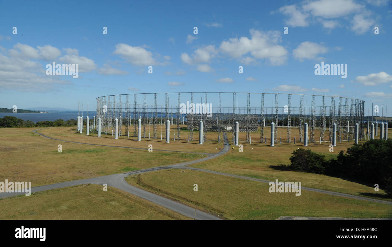 "An AN/FLR-9, also known as the ""Elephant Cage,"" is seen before its demolition at Misawa Air Base, Japan, Oct. 15, - Stock Image"