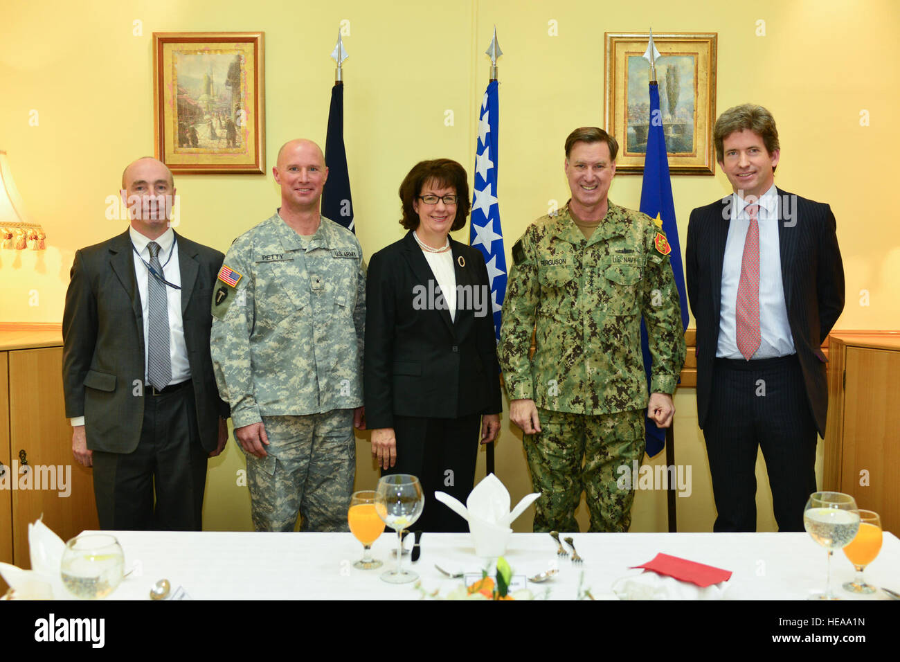 From left, U S  Army Col  Scott Miller, defense attaché for the U S