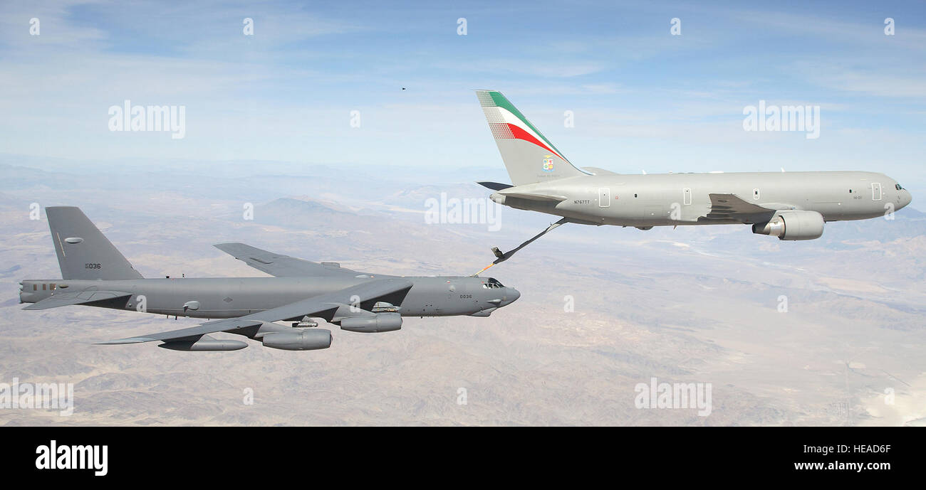 An Italian Air Force Boeing 767 tanker refuels an Edwards B-52 over ...