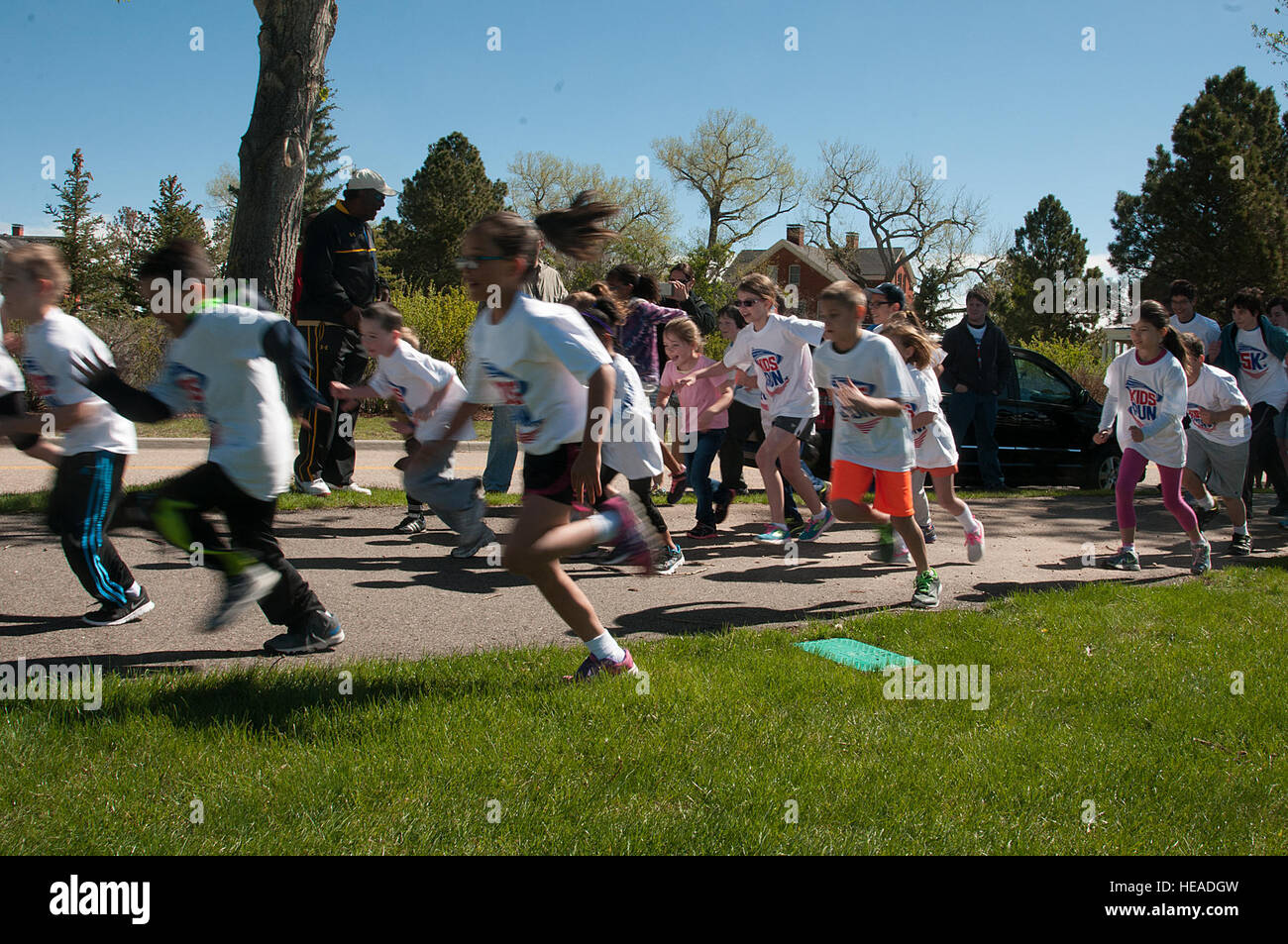 Children Take Off At The Start Of Americas Kids Run Race May 16 2015 On Track Around Argonne Parade Field FE Warren Air Force Base Wyo