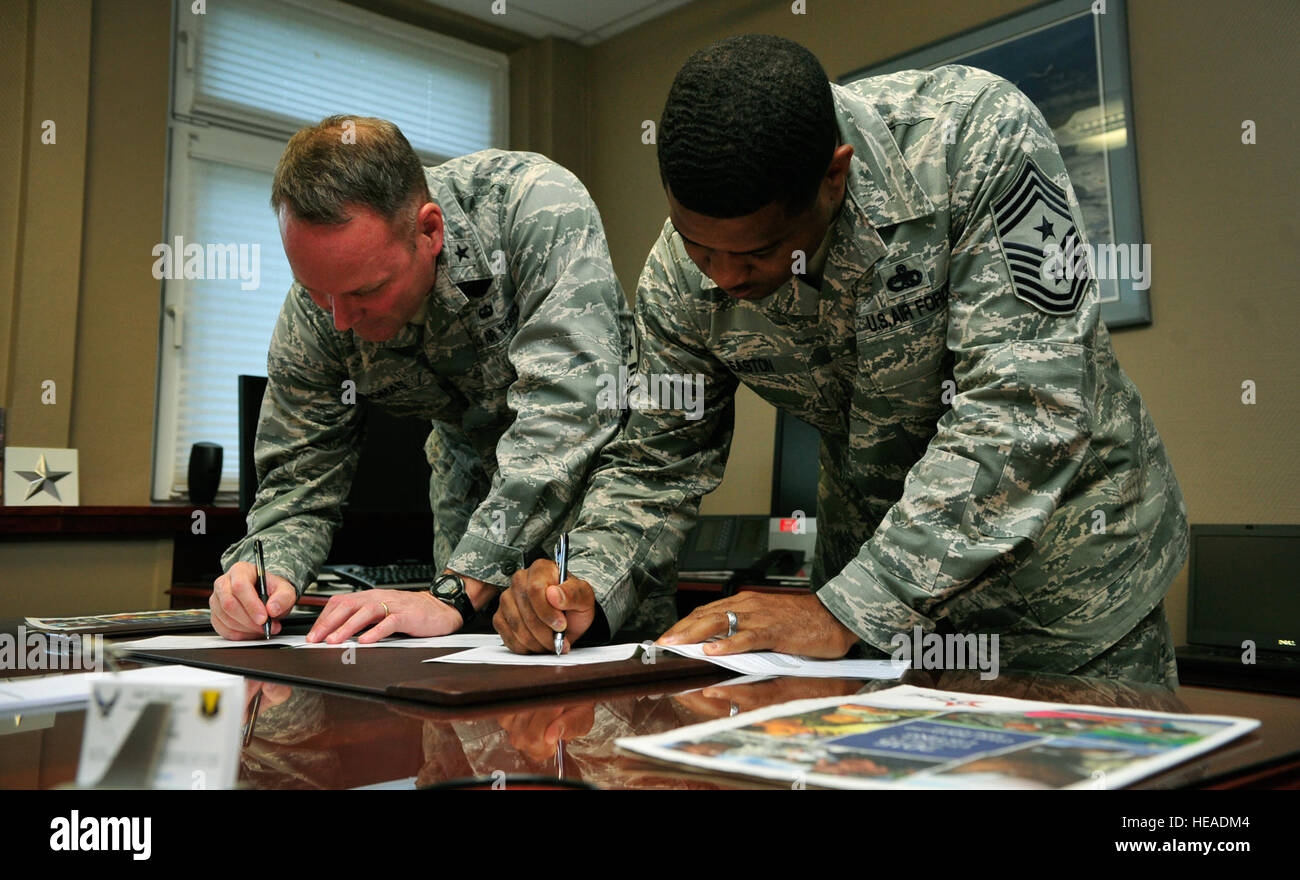 Brig. Gen. Jon T. Thomas, 86th Airlift Wing commander, and Chief Master Sgt. Phillip Easton, 86th AW command chief, Stock Photo