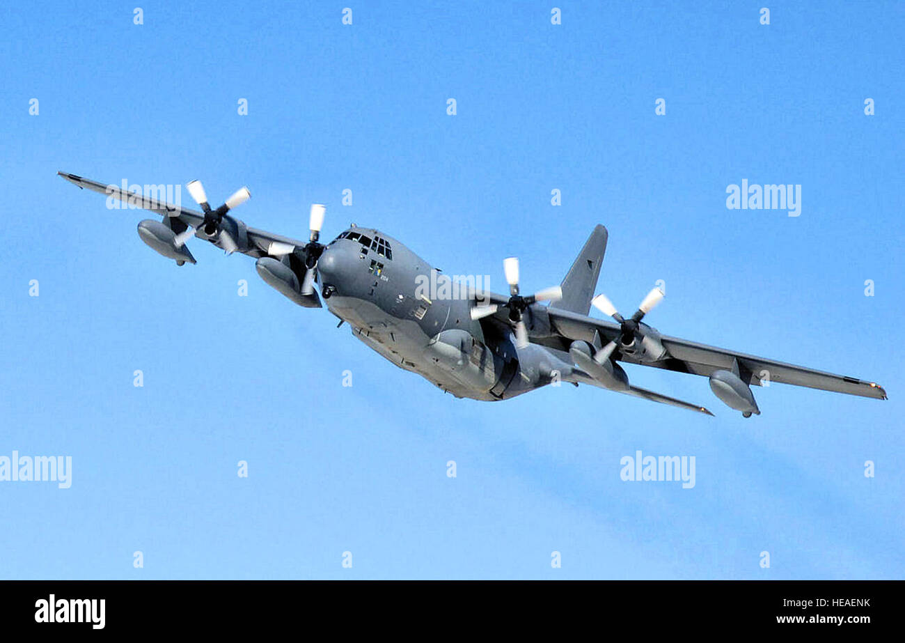 12 April 2007. A HC-130 in flight from the 211th Rescue Squadron, Alaska Air National Guard, Anchorage Alaska.  - Stock Image