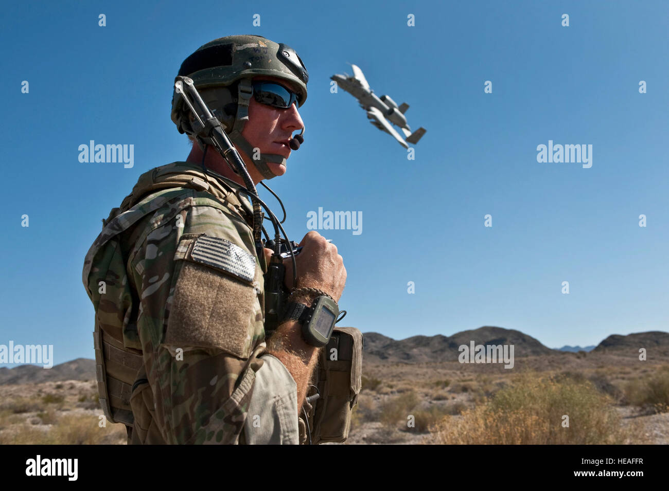 U.S. Air Force Tech. Sgt. Aaron Switzer, 21st Special Tactics Squadron joint terminal attack controllers, from Pope - Stock Image