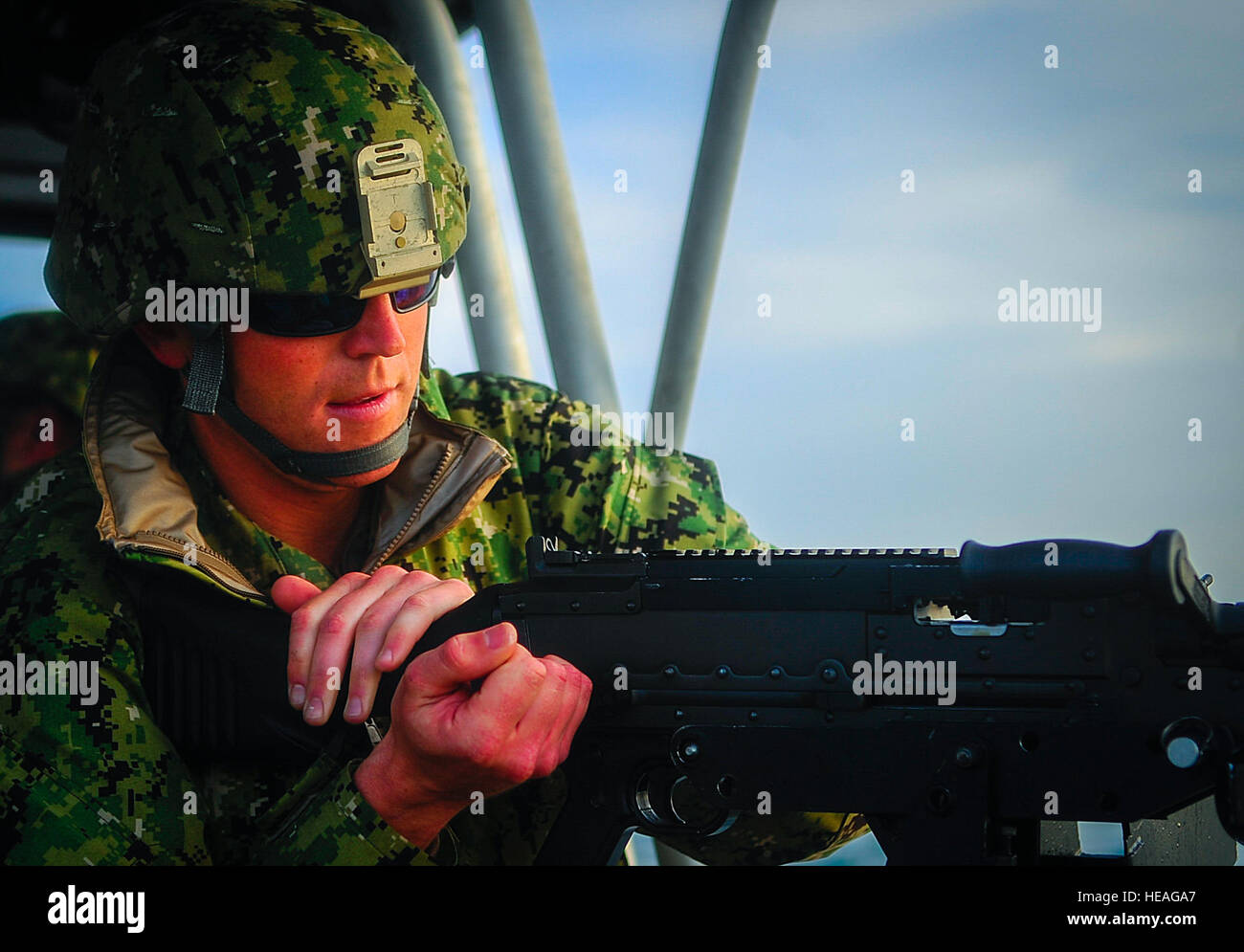 Petty Officer 3rd Class Kane Capone, a boatswain's mate stationed at Port Security Unit 309 in Port Clinton, Ohio, Stock Photo