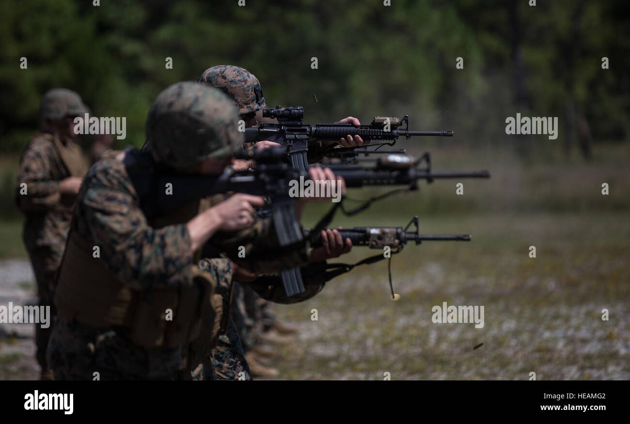 US Marines Sight In On Their Targets During A Table Three Range At Camp Lejeune NC Sept 21 2016 With 2nd Maintenance Battalion Conducted