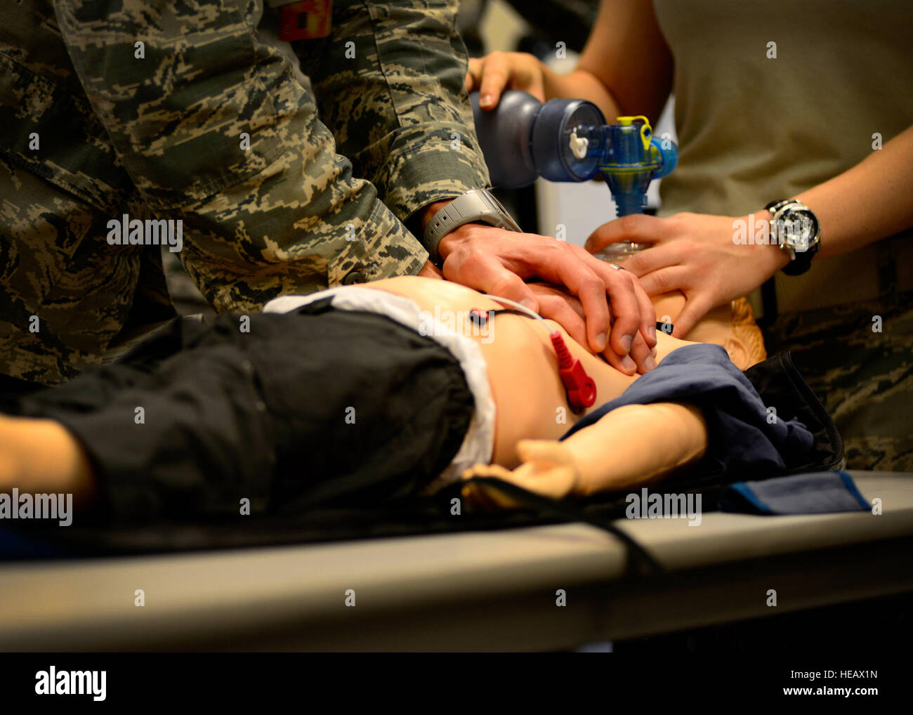 Pediatric Advanced Life Support training students practice pediatric cardiopulmonary resuscitation, July 8, 2015, - Stock Image