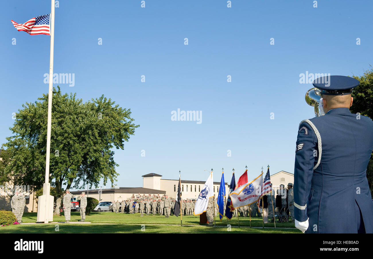 Senior Airman Manuel Alvarez, Dover Air Force Base Honor Guard, plays the bugle during a prisoner of war/missing - Stock Image