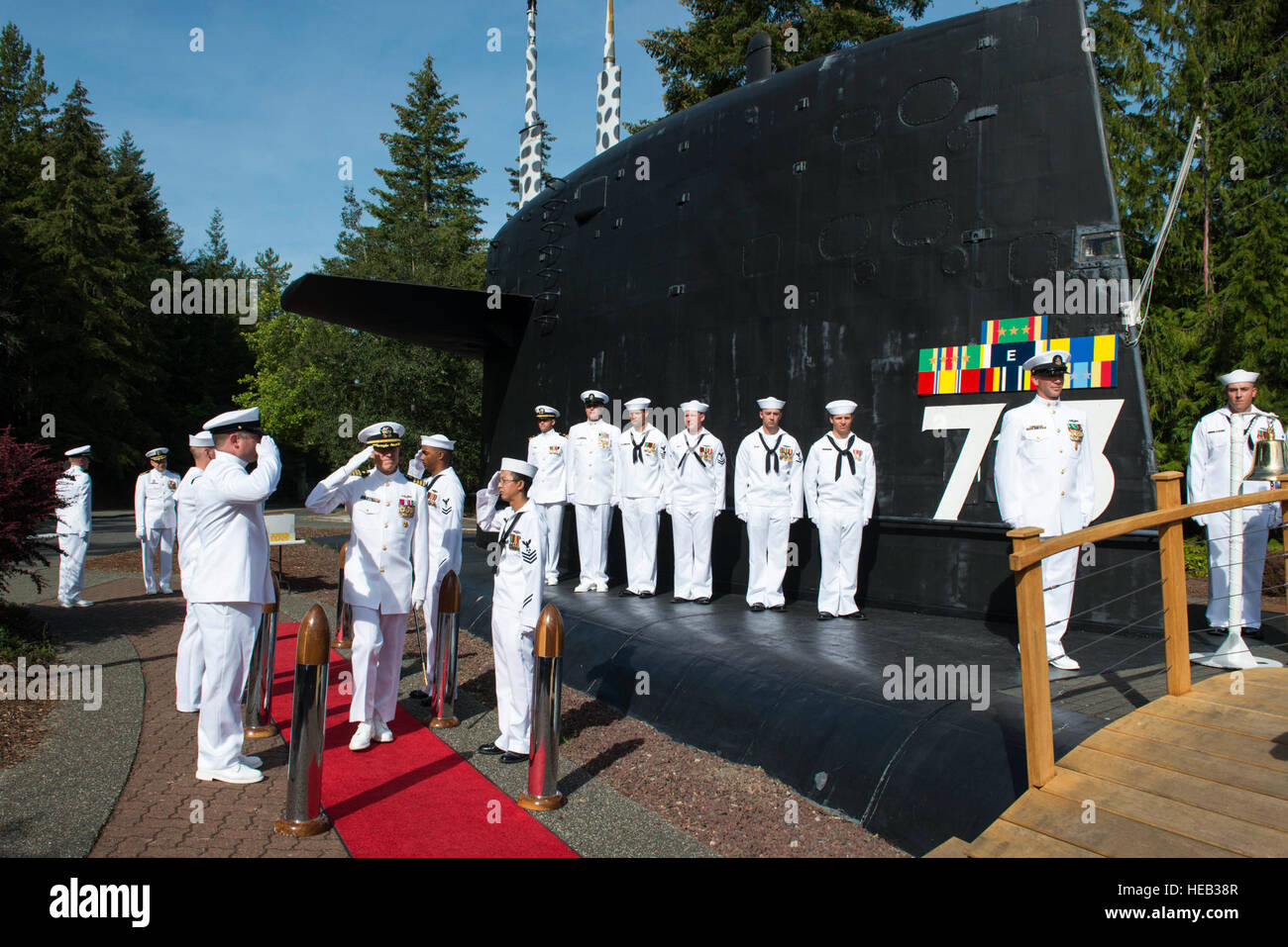 BANGOR, Wash. (Aug. 26, 2016) Capt. Michael Lewis, the 13th commanding officer of the Los Angeles-class fast-attack submarine USS Houston (SSN 713) and the keynote speaker for the event, arrives at Houston's decommissioning ceremony at Naval Base Kitsap Bangor. Houston concluded 33 years of service as the fourth U.S. warship to be named after Houston, Texas.  Mass Communication Specialist 1st Class Amanda R. Gray Stock Photo
