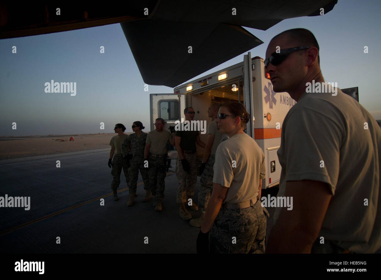 Members from the 451st Expeditionary Aeromedical Evacuation Squadron Detachment 1 Contingency Aeromedical Staging - Stock Image