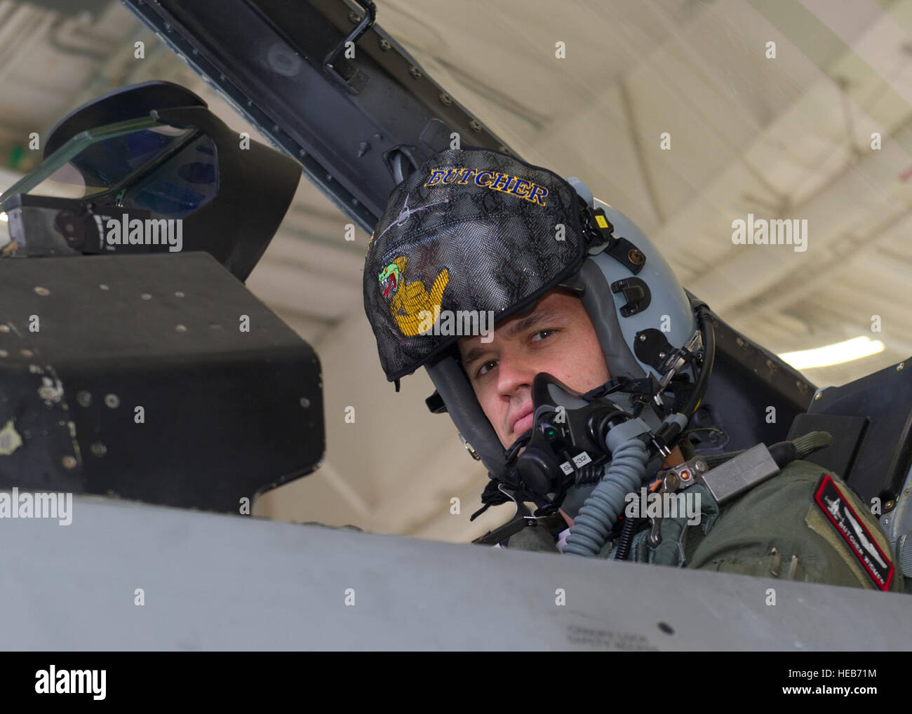 Capt. John Widmer, a pilot with the 54th fighter group, prepares for a training sortie over the White Sands Missile - Stock Image