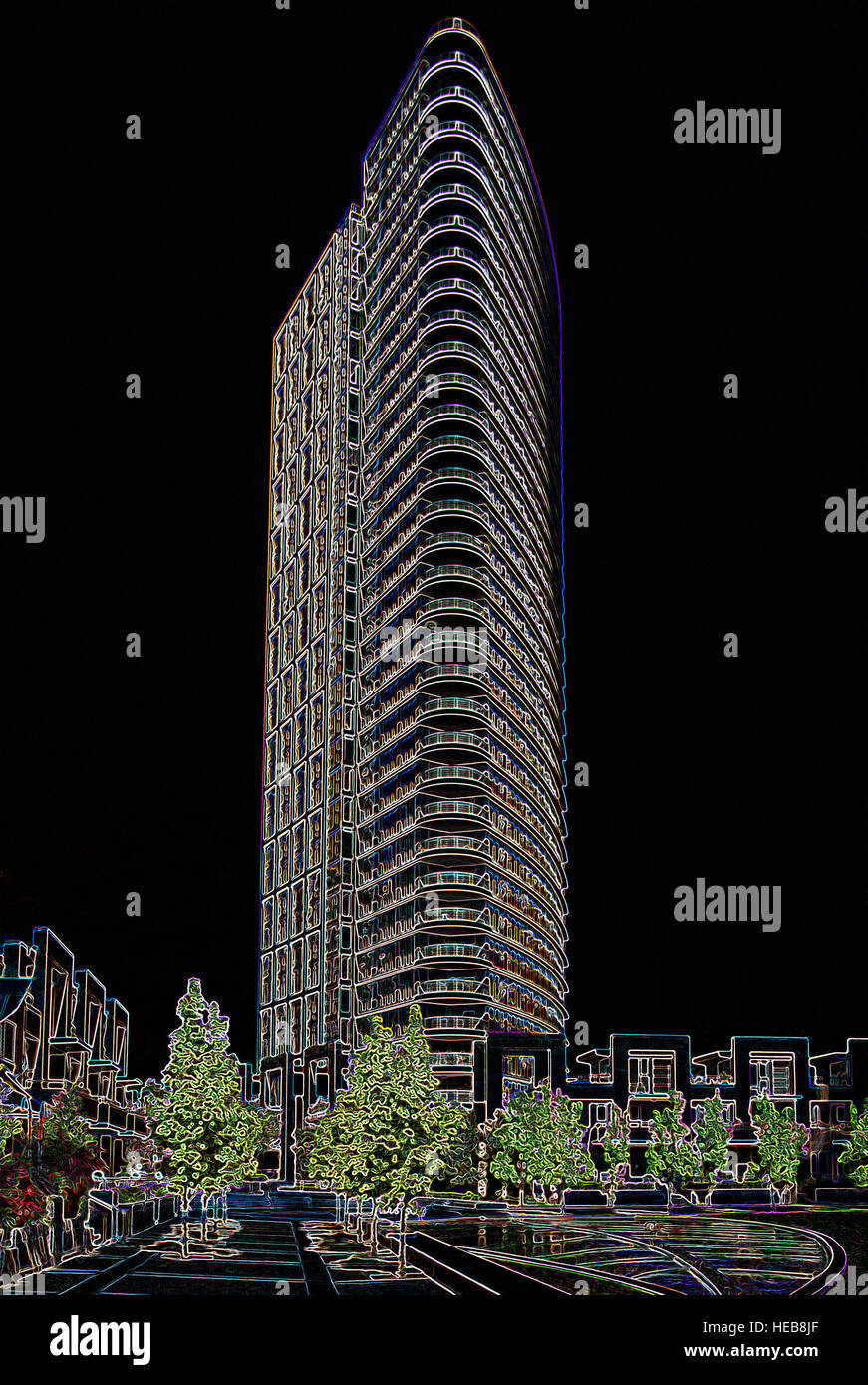 Highrise Building - Digitally Manipulated Image with Glowing Edges, Abstract Architecture and Cityscape on a Black - Stock Image