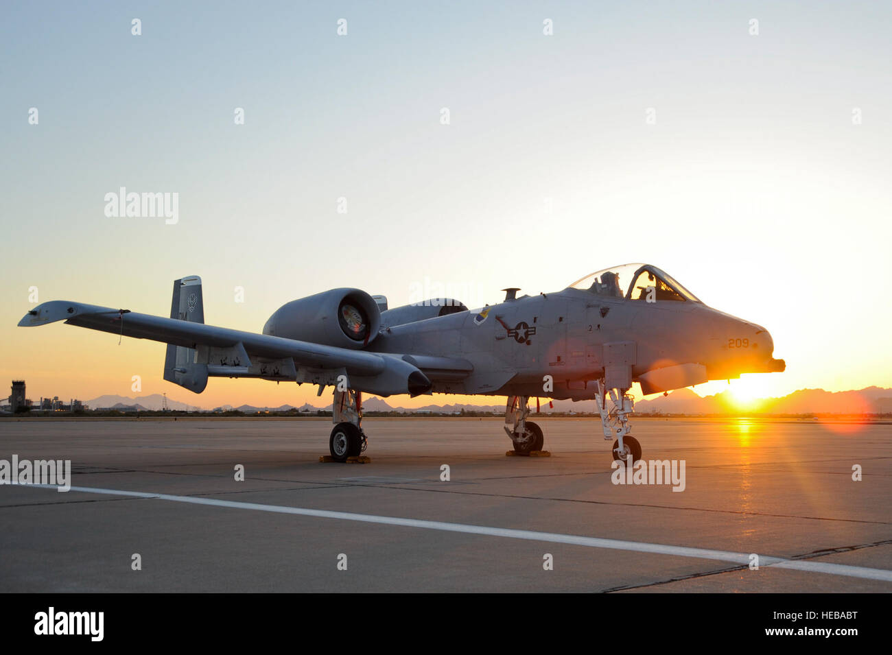An A-10C Thunderbolt II sits on the flight line at Davis-Monthan Air Force Base, Ariz., April 24, 2015. The A-10's Stock Photo