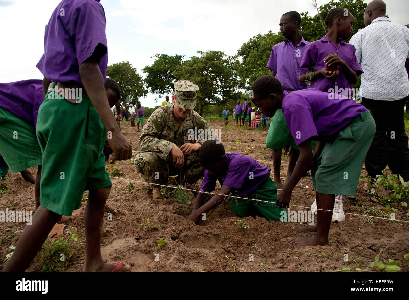 U.S. Navy Lt. Cory Cole, Maritime Civil Affairs Team 112 officer in charge, helps Kenyan students plant Casuarina Stock Photo