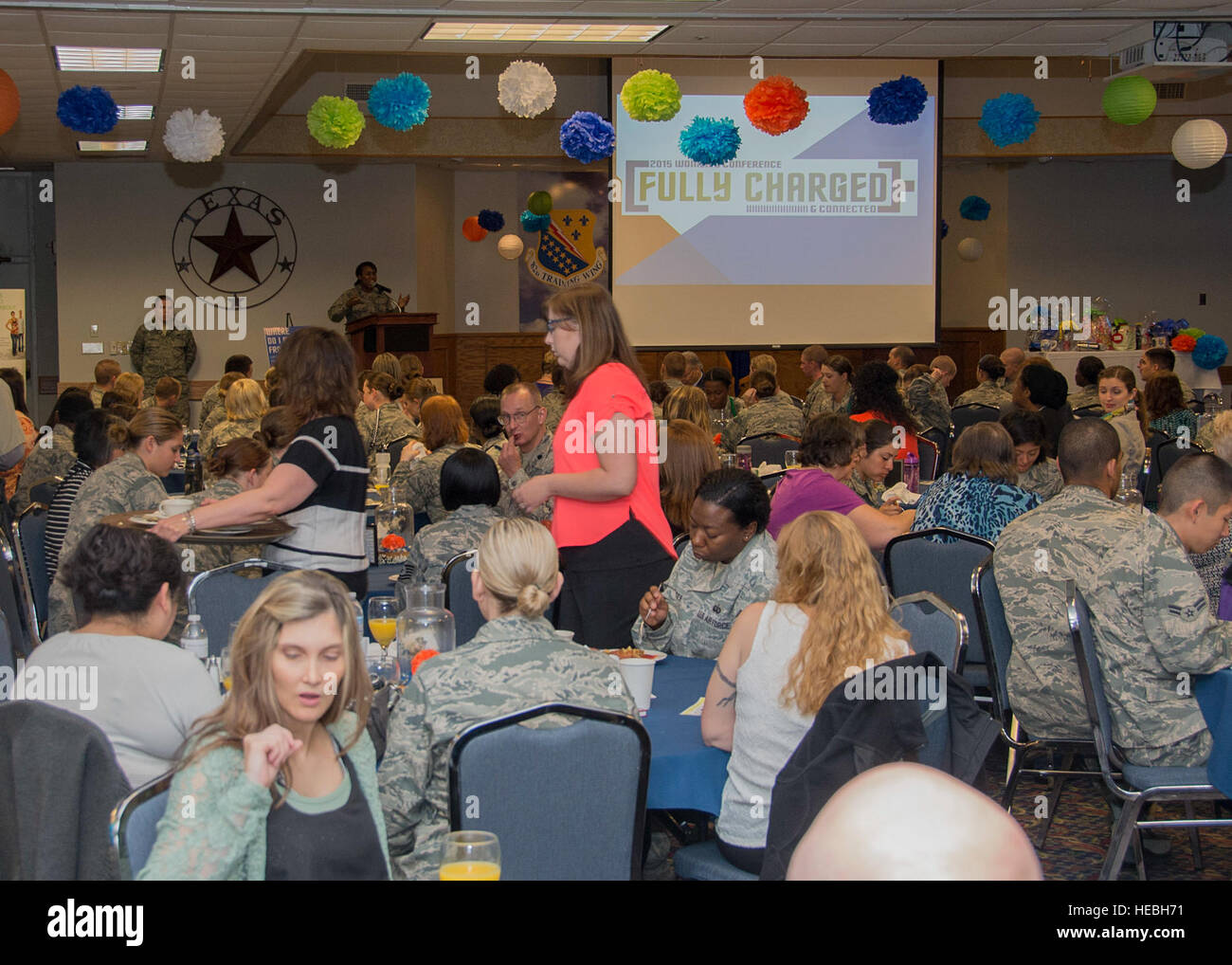 U.S. Air Force Airmen from Sheppard Air Force Base, Texas, attend the first Women's Conference, March 24, 2015. - Stock Image
