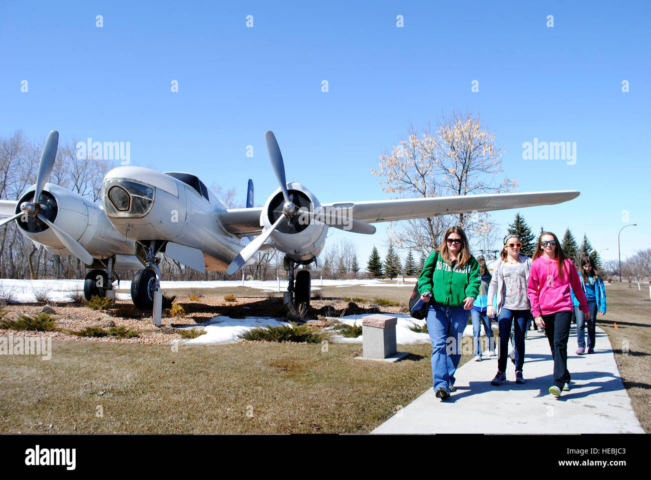 Chaperones and students from St. Joseph's Catholic School in Devils Lake, N.D., take a tour of the military - Stock Image