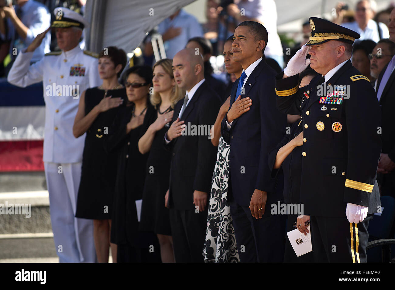 President Barack Obama, first lady Michelle Obama, U.S. Navy Adm. Samuel J. Locklear III, commander, U.S. Pacific - Stock Image
