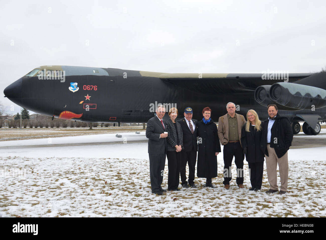Family members and friends of fallen Airman Capt. David Lyon pose in front of a B-52 Stratofortress Jan. 14, 2015, - Stock Image